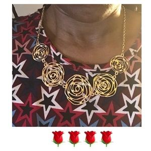Gold Alloy Etched Rose Necklace & Earring Set NWOT